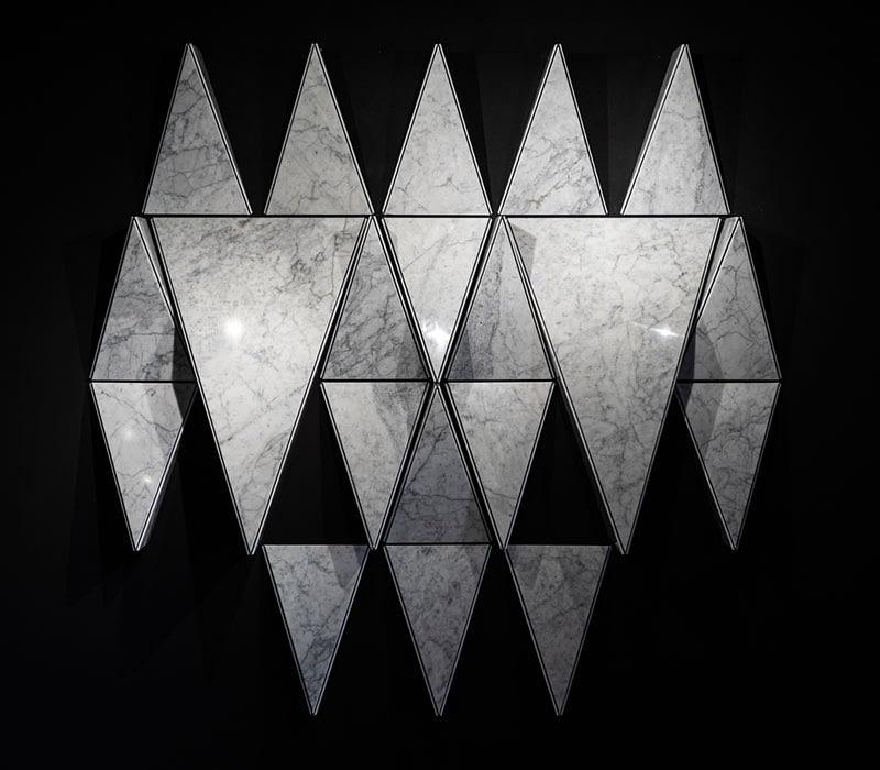 lightened marble geometric wall origami