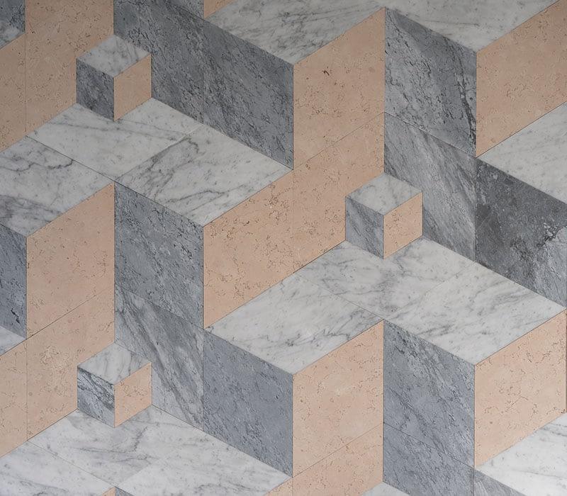 lightened marble geometric floor